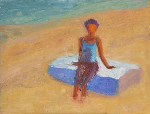 Christa Sitting on a Dory, 11 x 14